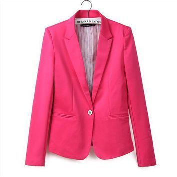 ICIKHY9 Za new hot stylish and comfortable women's Blazers Candy color lined with striped Z suit   Blazers  Free Shipping