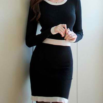 Black Long Sleeve Bodycon Dress with White Neck