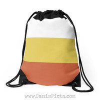Halloween Candy Corn Color Bag Drawstring Backpack Tote Purse Geometric Modern Orange Yellow White Holiday Trick or Treat Harvest Costume