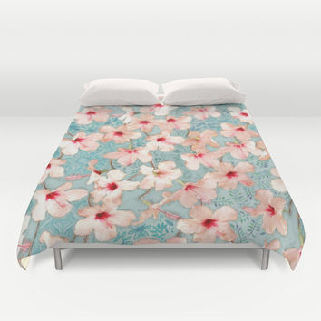 Shabby Chic Hibiscus Patchwork Pattern in Peach & Mint Duvet Cover by Micklyn