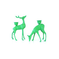 deer, candle holders, mint green, woodland, home decor, animal statues, fawn