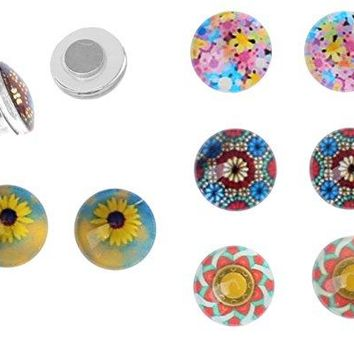 BodyJ4You Fake Plugs Magnetic Metal Sunflower Ornament Kit Gauges Cheater Illusion Jewelry 8 Pieces