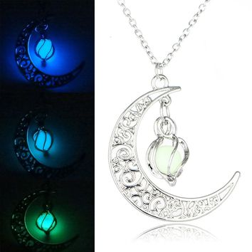 Vintage Glow In the Dark Pendant  Luminous Stone Beads  Moon Necklaces