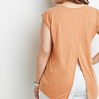 Heathered Slit-Back Tee