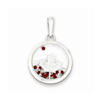 Sterling Silver Leaf and Floating Glass Beads Pendant