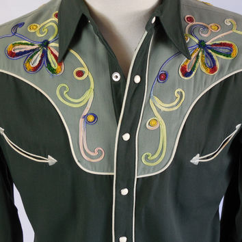 1940s Western H Bar C Green Embroidered Shirt Size S