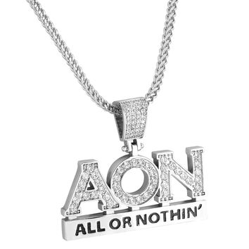 "Designer Hip Hop All or Nothing Iced Out Pendant 14k White Gold Finish Custom 24"" Franco Chain"