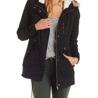Black Anorak with Detachable Faux Fur by Charlotte Russe