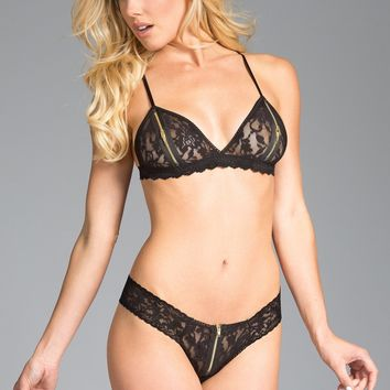 Be Wicked Lingerie Lace Bralette with zipped peek-a-boo cups Bra Set