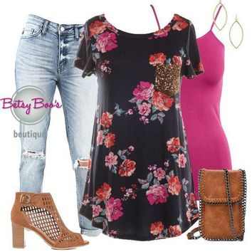 Set 329: Floral Tee w/Sequin Pocket (incl. top, tank & earring)