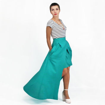 Maxi Skirt, High Low Skirt, Plus Size Skirt, High Waisted Skirt, Floor Length Skirt, Full Maxi Skirt with Pockets, Detachable Skirt