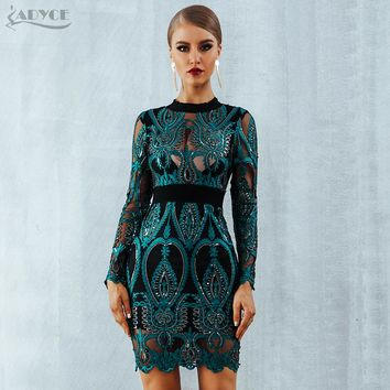 ADYCE Celebrity Party Sequin Dress Women 2018 New Long Sleeve Backless Sexy Mesh Hollow Out Mini Luxurious Club Dresses Vestidos