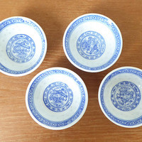 Small blue and white Asian soy sauce dishes, set of four