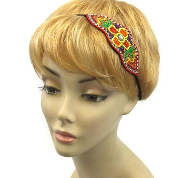 Seed Bead Patterned Headband