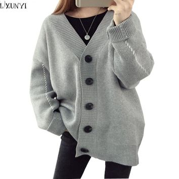 LXUNYI Autumn Sweater Women Plus Size Female Knitted Cardigans Preppy Style Single Breasted Casual Sweaters For Woman 2017 White