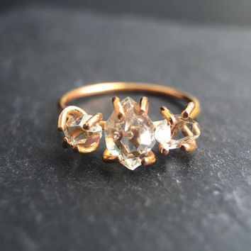 Three Stone Herkimer Diamond Ring in Solid 14 karat Rose or Yellow Gold