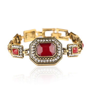 Turkish  Gold Color Bracelets For Women Red Resin White Rhinestone Square