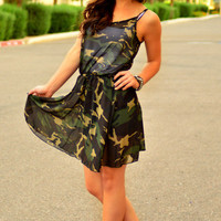 CAMO CHIFFON DRESS