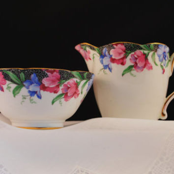 "Cream and Sugar Bow, Paragon Queen Mary Cream and Sugar Bowl ""Sweet Pea"" Fine Bone China"