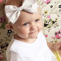 Gold Foil Pin-Dot Bow Baby Headband - Cotton Adorable Little Girl Heaband