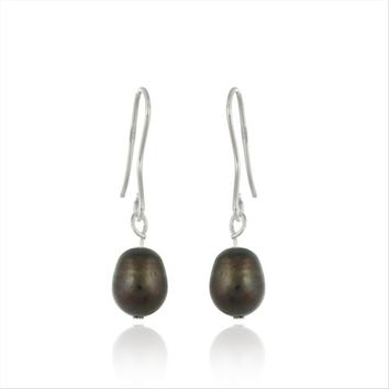 Sterling Silver Baroque Freshwater Brown Pearl Earrings