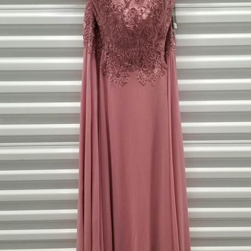 CLEARANCE - Mauve Appliqued Bodice Long Formal Dress V-Neck (Size 3XL)