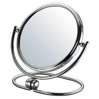 "Adeco Round Double Sided Swivel Angled Makeup Cosmetic Mirror 3X Magnification 6"" Chrome Finish"