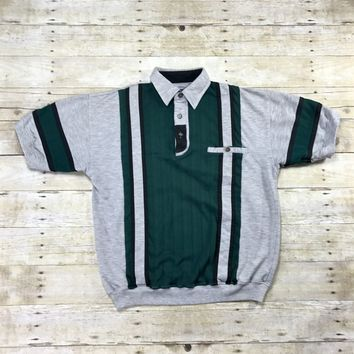 Vintage 90s Green / Gray Striped Short Sleeve Sweater Mens Size Small