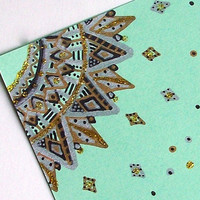 Hand Drawn Greeting Cards in Sea Foam Green/ Mint - Set of 10 Note Cards - Envelopes inhcluded