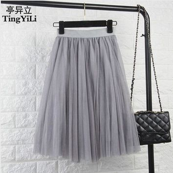 CREYET7 TingYiLi Tulle Skirts Womens Black Gray White Adult Tulle Skirt Elastic High Waist Pleated Midi Skirt 2016