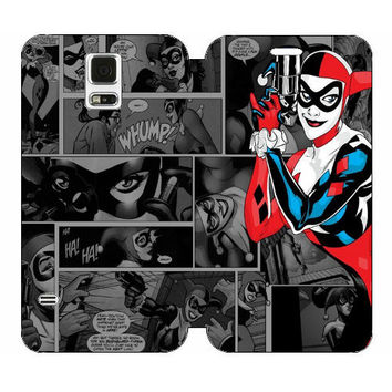 Harley Quinn Comic Flip Cover Case Samsung Galaxy S5