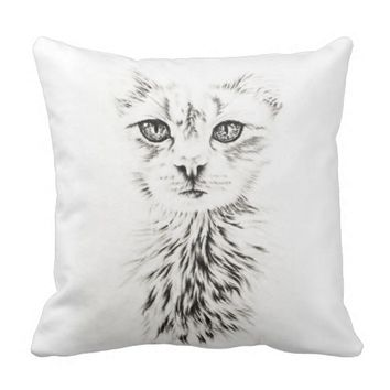 White Cat drawing of chic pet portrait cat art Throw Pillow