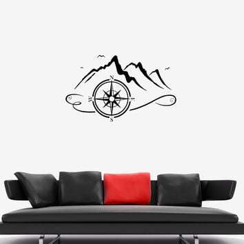 Wall Decal Tourism Climbing Compass Nature Mountains Vinyl Sticker (ed1157)