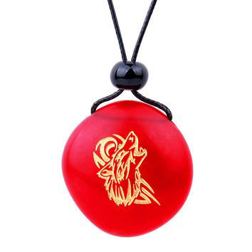 Amulet Frosted Sea Glass Stone Celtic Energy Howling Wolf Good Luck Powers Royal Red Adjustable Necklace