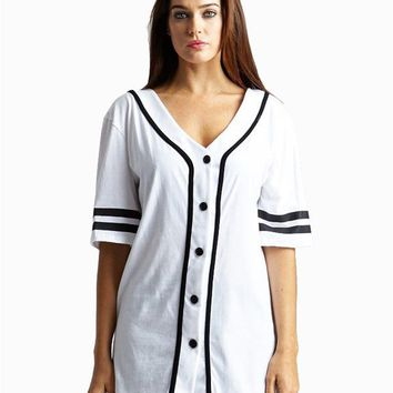 Button Down Baseball Varsity Oversized Sports Jersey Tee Shirt Top