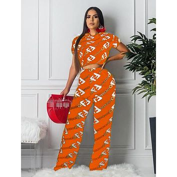 Fendi Fashion New More Letter Print Sports Leisure Top And Pants Two Piece Suit Orange