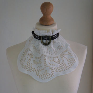 Handmade White Vintage Lace Jabot Scottish Neck Tie With Skull Ribbon and Brass Metal Buckle Detail Steampunk Victorian Gothic Accessory