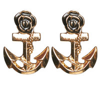 Rose & Anchor Button Earring | Wet Seal