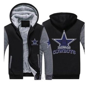 Dropshipping Men Women Steelers Broncos Cowboys Hoodies Zipper Sweatshirts Jacket Printed Winter Thicken Hooded Co