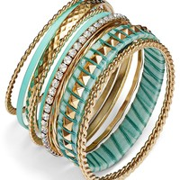 Bar III Gold-Tone Mint Color and Crystal Accent Bangle Bracelet Set