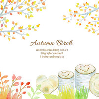 Wedding clipart - watercolor autumn birch tree, birch tree in fall color,  printable instant download