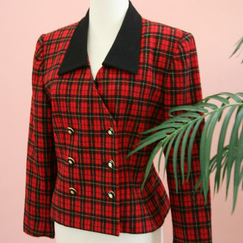 Red and Black Plaid Double Breasted Cropped Jacket