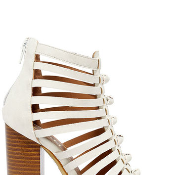 Glide Past White Caged Peep-Toe Heels