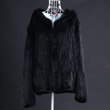 Winter Ladies' Genuine Real Knitted Mink Fur Jacket Coat with Hoody Women Fur Outerwear Coats Size 5XL 6XL Plus Size VK3016