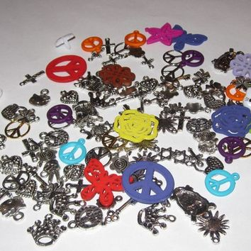 100 Mixed Charms Lot Color and Silver: peace signs, owls, hearts, crosses & more