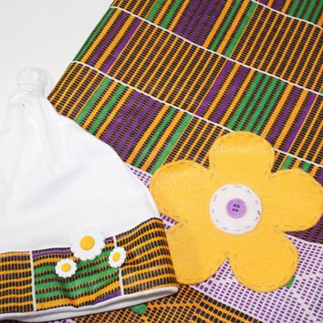 African baby blanket, Kente flower