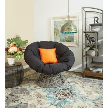 Papasan Chair with Woven Wicker over Steel Frame - Red/Black