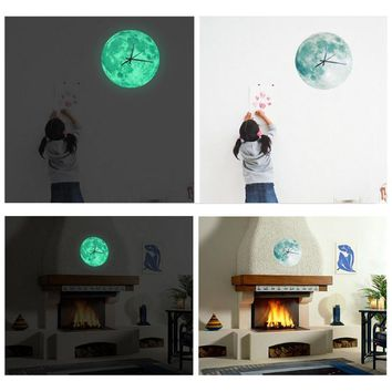 Glowing Moon Wall Clock Waterproof PVC Acrylic Luminous 12 Inches  Hanging Clock Moon Clock Livingroom Bedroom Decor