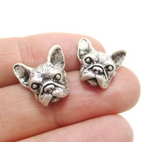 Realistic French Bulldog Puppy Dog Face Shaped Stud Earrings in Silver | DOTOLY