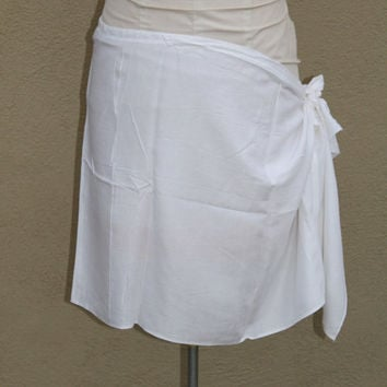 Premium white- pareo, sarong wrap skirt-- no fringe- thicker white fabric, rayon, adult, child size, plus sized